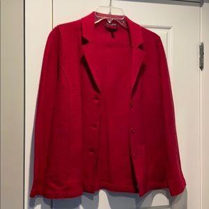 Red Merino Wool Blazer